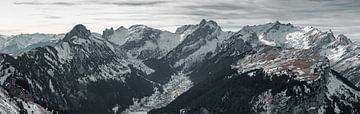 Panorama Ansicht zur Alpstein Bergkette von Besa Art