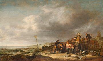 Strand mit Fischern, Simon de Vlieger, 1630 - 1653