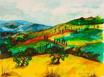 Toscaans landschap. van Ineke de Rijk