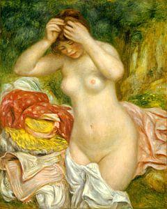 Baadster bezig met haar Haar, Auguste Renoir