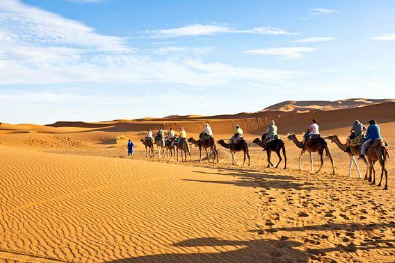 Kamelen karavaan door de zandduinen van de Sahara desert van Nisangha Masselink