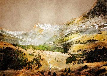 Zwitserland Wengen landschap schilderen #Zwitserland van JBJart Justyna Jaszke