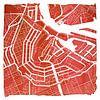 Amsterdam Grachtengordel | Stadskaart Rood | Vierkant met Witte kader van Wereldkaarten.Shop thumbnail