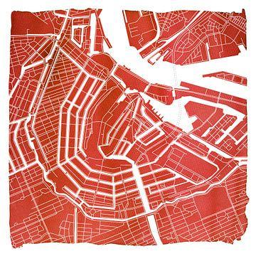 Anneau de canal d'Amsterdam Plan de la ville rouge Carré avec cadre blanc sur - Wereldkaarten.shop -