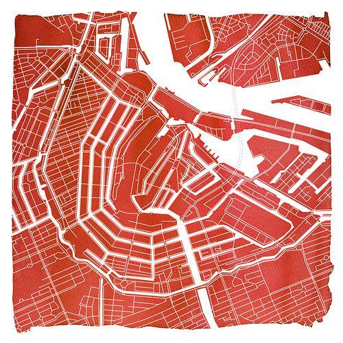 Amsterdam Grachtengordel | Stadskaart Rood | Vierkant met Witte kader van