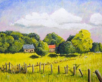 Geschilderd Frans landschap van platteland van Ivonne Wierink