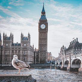 Big Ben, Londen in zwartwit met colour pop van Daphne Groeneveld