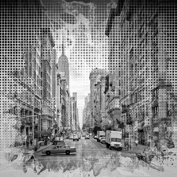 Grafische Kunst in de STAD NEW YORK op 5th Avenue | zwart-wit van Melanie Viola