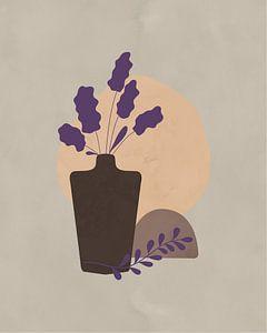 Illustratie van een stilleven met paarse bloemen in een fles van Tanja Udelhofen