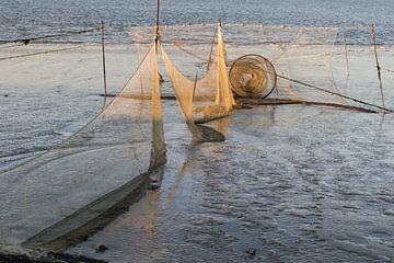 Visnet op het drooggevallen wad bij Lauwersoog van Tim Groeneveld