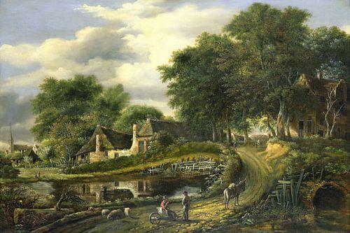 Landschap, Julien Joseph Ducorron, digitaal gerestaureerd von