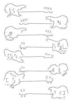 Silhouetten van bas gitaren van Drawn by Johan
