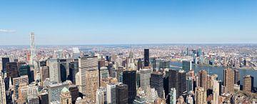 Panorama uitzicht op New York Chrysler Building en MetLife van