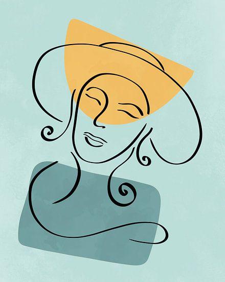 Lijntekening van een vrouw met hoed met twee organische vormen in geel en blauw