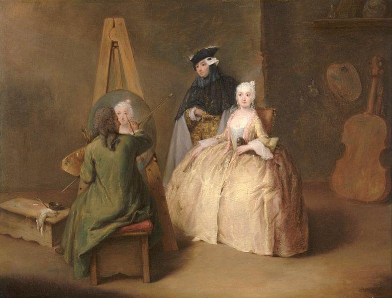 Der Maler in seinem Atelier, Pietro Longhi von Meesterlijcke Meesters
