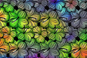 Buntes Muster von Hibiskusblüten von Rietje Bulthuis