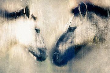 Begroeting tussen 2 konikpaarden (kunst) van Art by Jeronimo