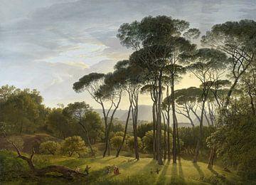 Italiaans landschap met parasoldennen, Hendrik Voogd van