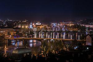 Panorama Praag  by Night van Jacqueline Lopez Perez