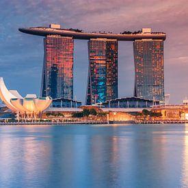 Skyline Singapur bei Nacht von Ilya Korzelius
