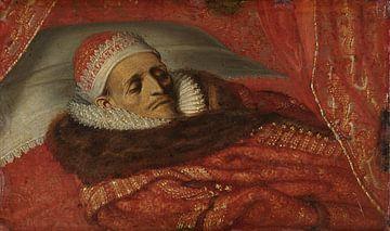 Stadthalter Prinz Maurice auf seinem prunkvollen Bett, Adriaen Pietersz. van de Venne, um 1625.