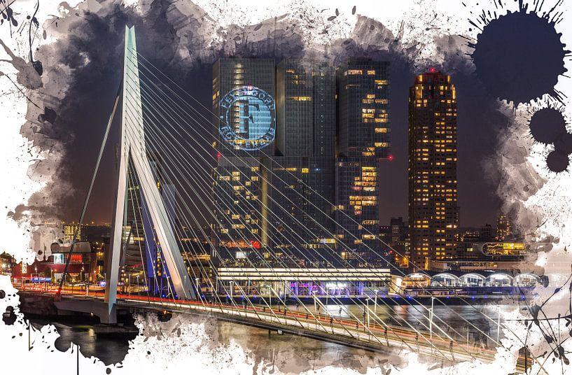 De Erasmusbrug in Rotterdam (Feyenoord ART Editie) van MS Fotografie   Marc van der Stelt