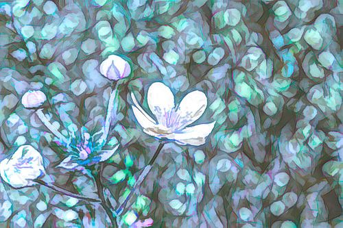 Abstracte bloemen in het veld van