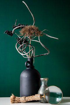 Stilleben Schwarze Vase & Lupe von michel meppelink