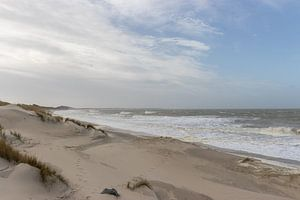 Une plage de la mer du Nord dans la tempête sur Marjolein Albregtse
