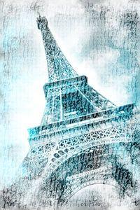 PARIJS eiffeltoren | aquarel turquoise