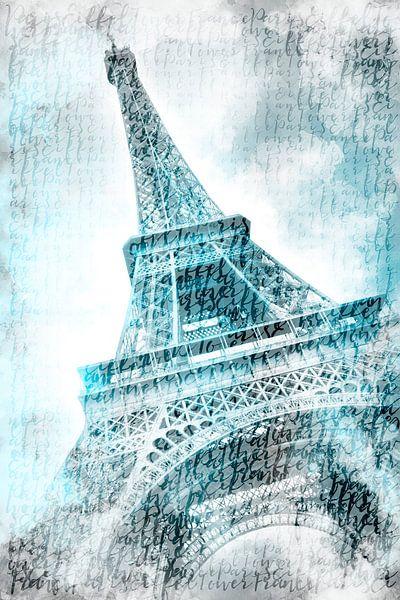PARIJS eiffeltoren   aquarel turquoise van Melanie Viola