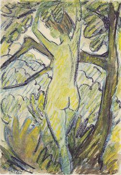 Stehender Akt in Baum, Otto Mueller