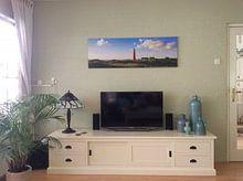 Klantfoto: Zonnige kust vuurtoren Schiermonnikoog van Joris Beudel, op canvas