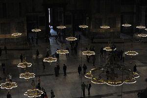 Zicht vanaf boven in de Aya Sophia, in Istanboel van