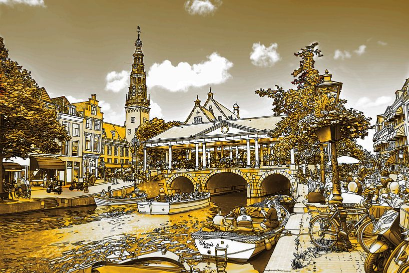 Pentekening Leiden Gouden Tekening Stadhuis en Kroonbrug Lijntekening van Hendrik-Jan Kornelis