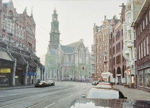 Schilderij: Amsterdam, Raadhuisstraat-Westerkerk van