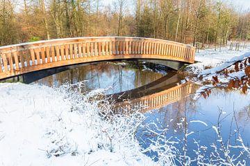 Houten brug over water met sneeuw in winter van Ben Schonewille