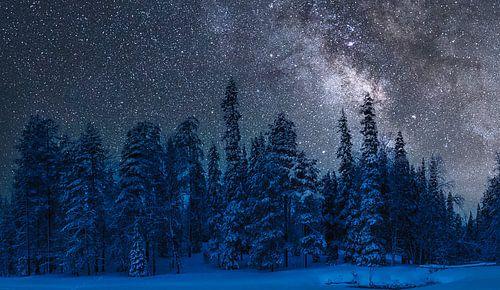 Koude winternacht in Finland