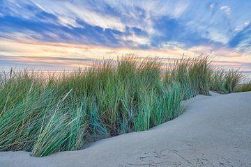 Zonsondergang boven de Noordzee en de duinen