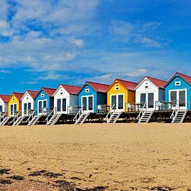 Panorama strandhuisjes Vlissingen van Anton de Zeeuw