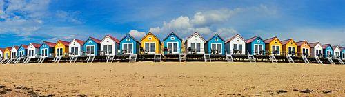 Panorama strandhuisjes Vlissingen van