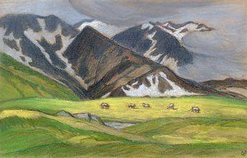 Schweizer Alpenlandschaft mit weidenden Kühen, LUDWIG VON HOFMANN, Ca. 1895-1899 von Atelier Liesjes