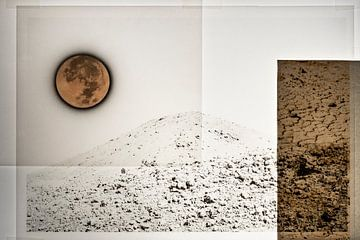 Volle maan boven de woestijn van Niek van Schie