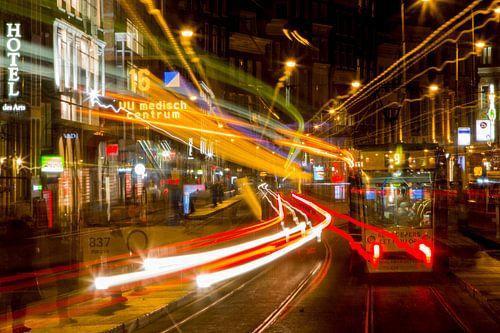 De tram in Amsterdam in beweging