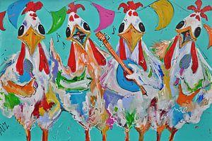 Kippen maken muziek