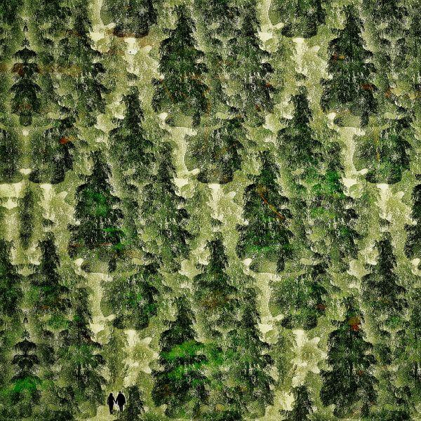 Bos uit één boom (woud met twee wandelaars) van Ruben van Gogh