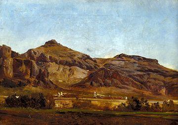 Carlos de Haes-Stone Mountain, huis landschap boven en onder, Antiek landschap