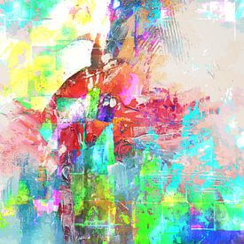 Modern, Abstract Digitaal Kunstwerk in Groen, Blauw, Oranje van Art By Dominic