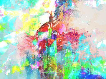 Modern, Abstract Digitaal Kunstwerk in Groen, Blauw, Oranje