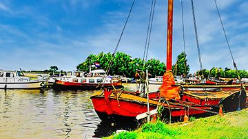 Segelschiff bei Alkmaardermeer, Woudhaven von Digital Art Nederland